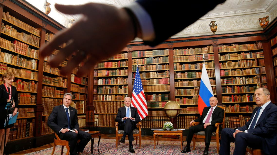 A security officer indicates to the media to step back as U.S. President Joe Biden, U.S. Secretary of State Antony Blinken, Russia's President Vladimir Putin and Russia's Foreign Minister Sergei Lavrov meet for the U.S.-Russia summit at Villa La Grange in Geneva, Switzerland, June 16, 2021. (Reuters)