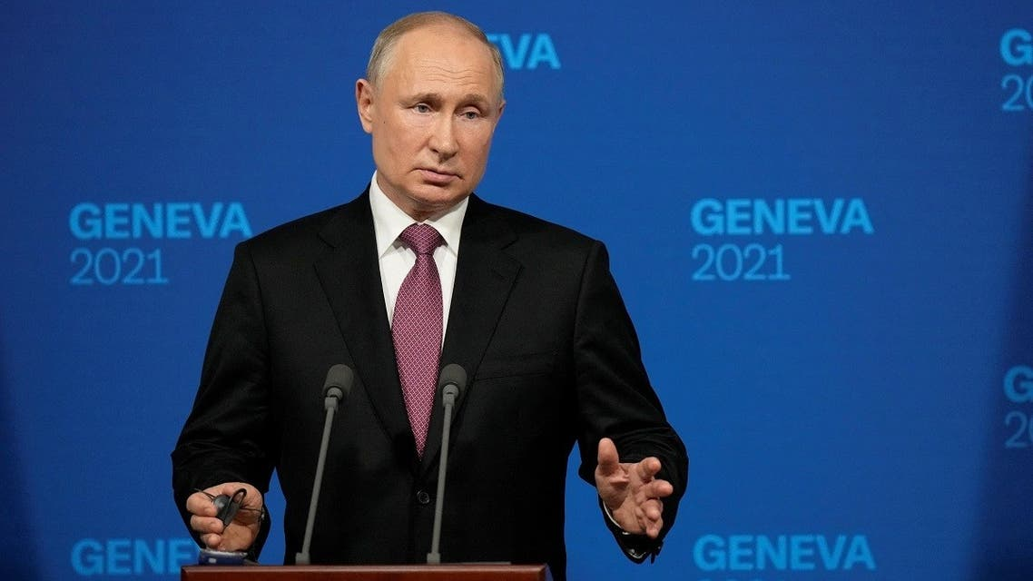 Russia's President Vladimir Putin holds a press conference after meeting with US President in Geneva on June 16, 2021. (Alexander Zemlianichenko/Pool/AFP)