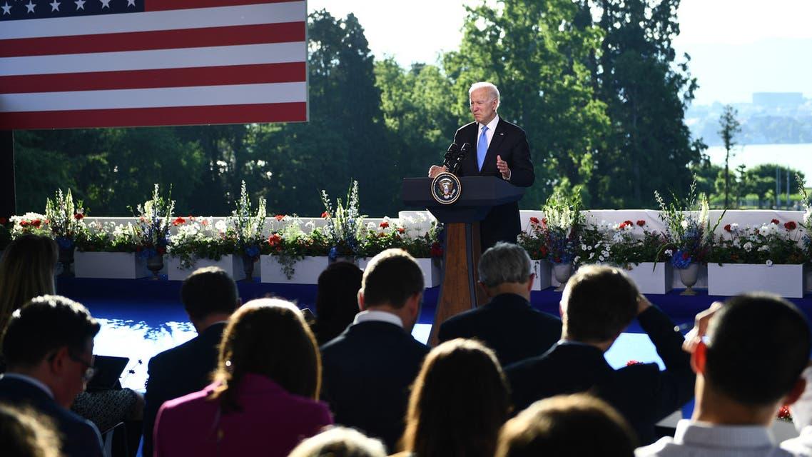 الرئيس الأميركي جو بايدن عقب القمة مع بوتين (فرانس برس)