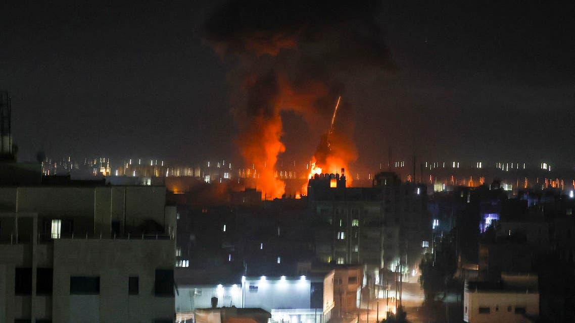 من القصف الإسرائيلي على غزة مساء الثلاثاء 15 يونيو 2021(فرانس برس)