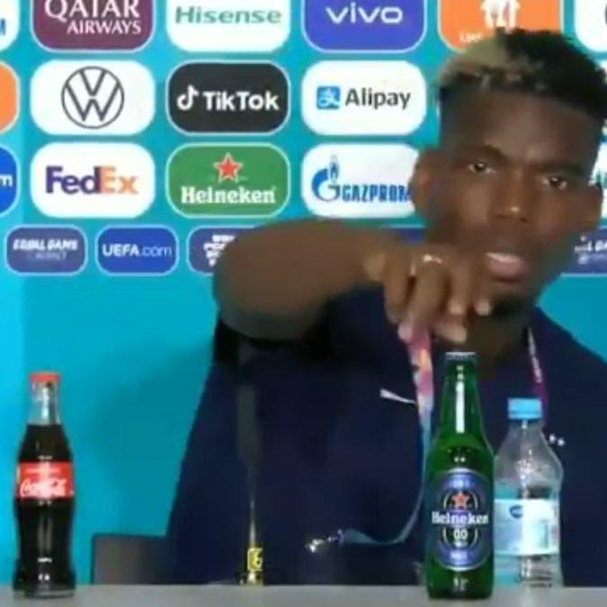 بعد تصرف رونالدو.. شاهد بوغبا يزيح زجاجة لمنتج آخر
