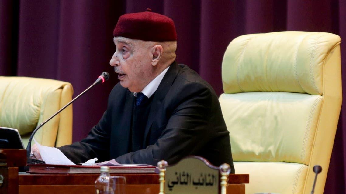 Parliament head Aguila Saleh attends a session to discuss approving new government, in Sirte, Libya March 8, 2021. REUTERS/Esam Omran Al-Fetori