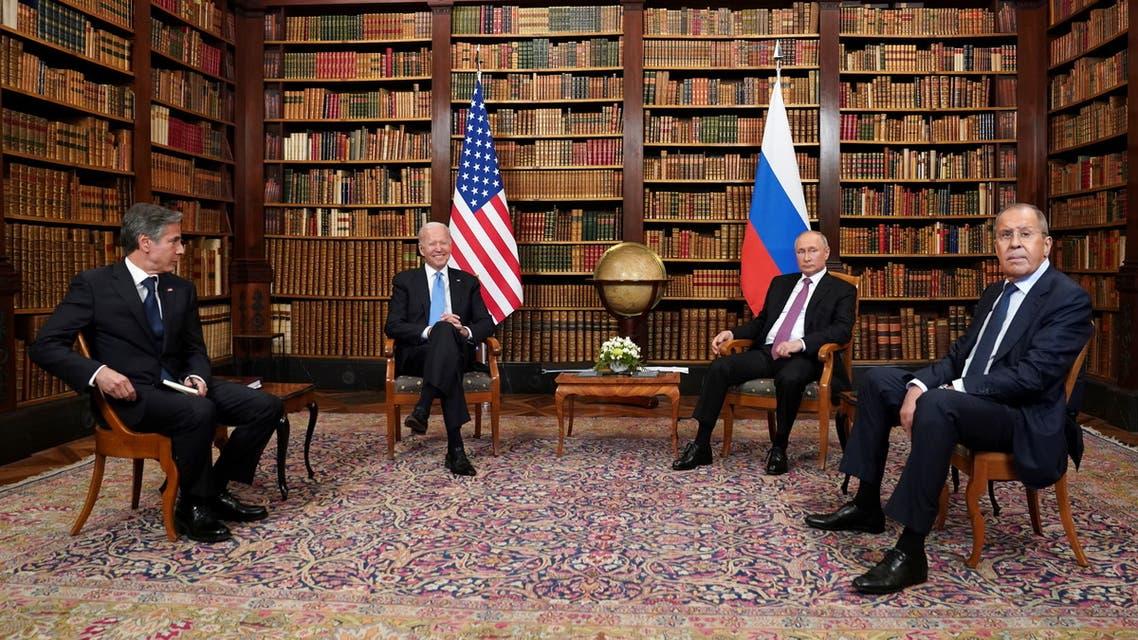 U.S. President Joe Biden, Russia's President Vladimir Putin, U.S. Secretary of State Antony Blinken and Russia's Foreign Minister Sergei Lavrov attend the U.S.-Russia summit at Villa La Grange in Geneva, Switzerland, June 16, 2021. REUTERS/Kevin Lamarque