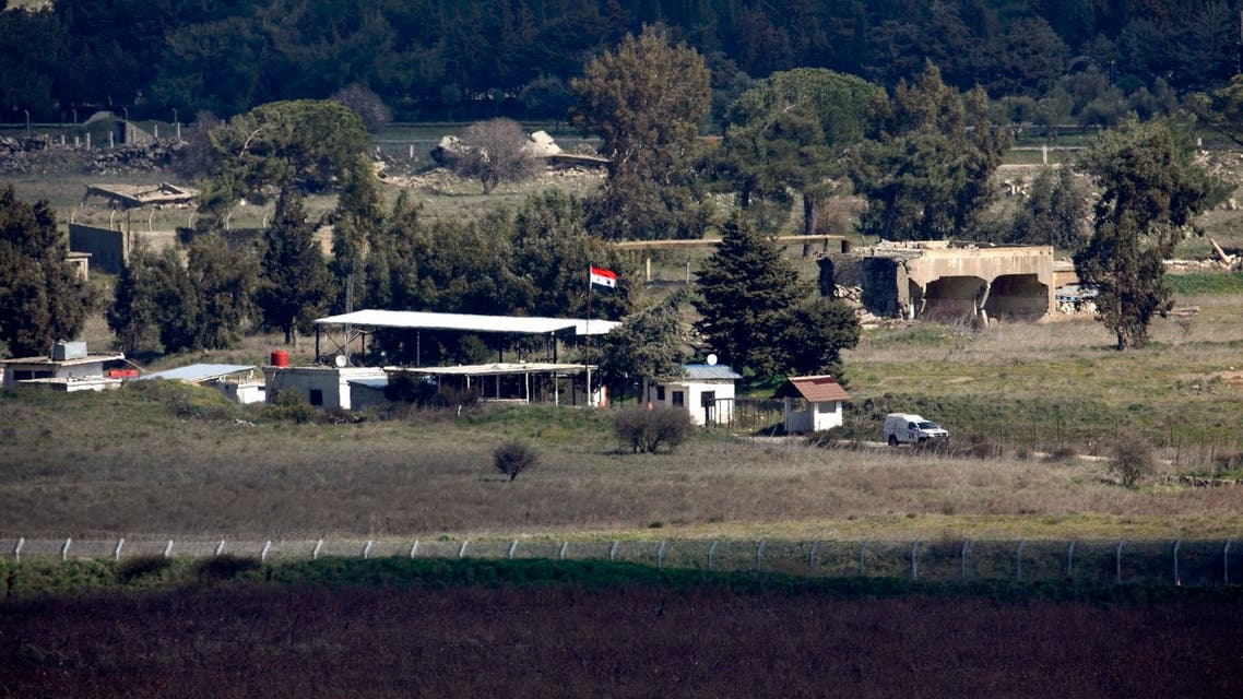 This picture taken from the Israel-annexed Golan Heights on February 15, 2021, shows the border fence with the Syrian governorate of Quneitra