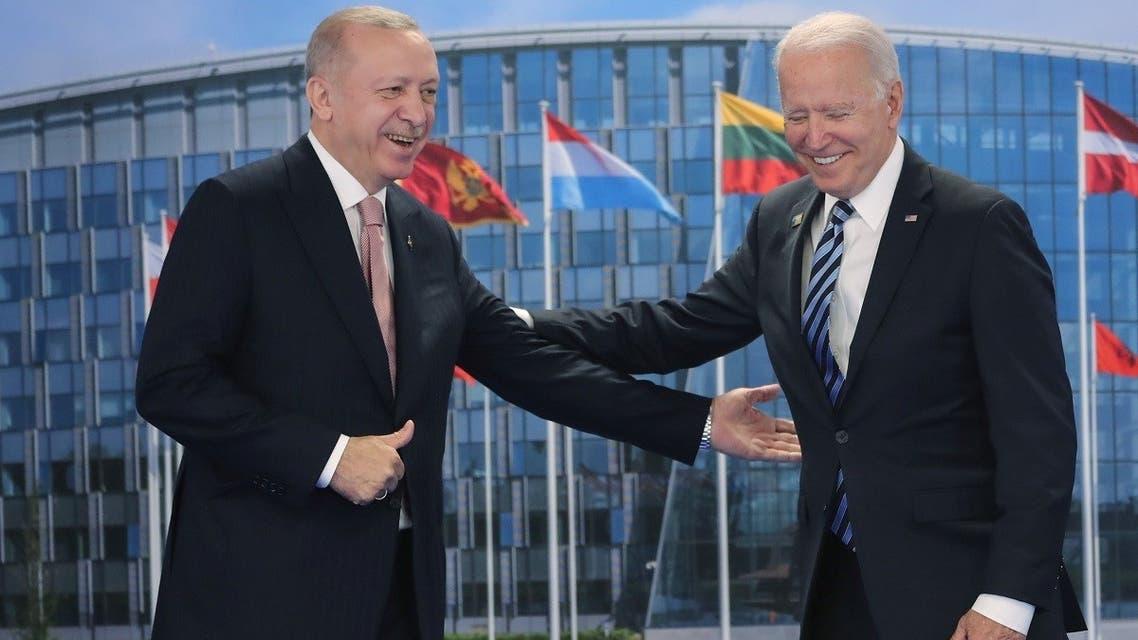Turkish President Tayyip Erdogan meets with US President Joe Biden on the sidelines of the NATO summit in Brussels, Belgium, on June 14, 2021. (Reuters)