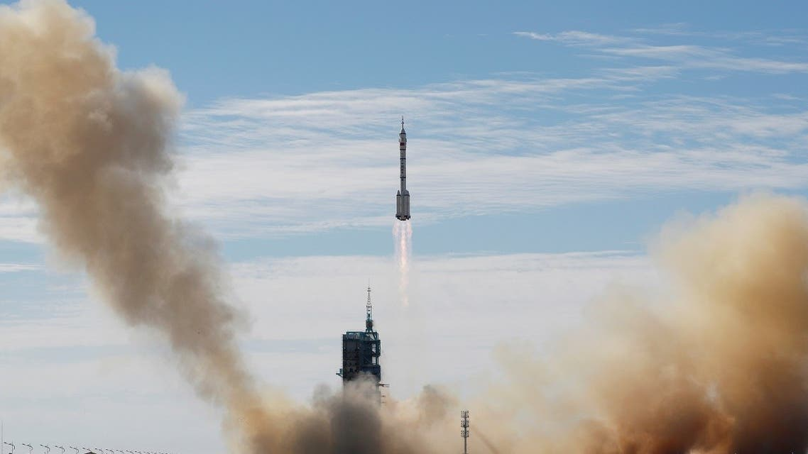 The Long March-2F Y12 rocket, carrying the Shenzhou-12 spacecraft and three astronauts, takes off from Jiuquan Satellite Launch Center for China's first manned mission to build its space station, near Jiuquan, Gansu province, China, on June 17, 2021. (Reuters)