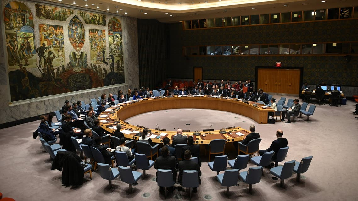 German Foreign Minister Heiko Maas (C) speaks at a UN Security Council meeting at United Nations headquarters in New York on February 26, 2020.