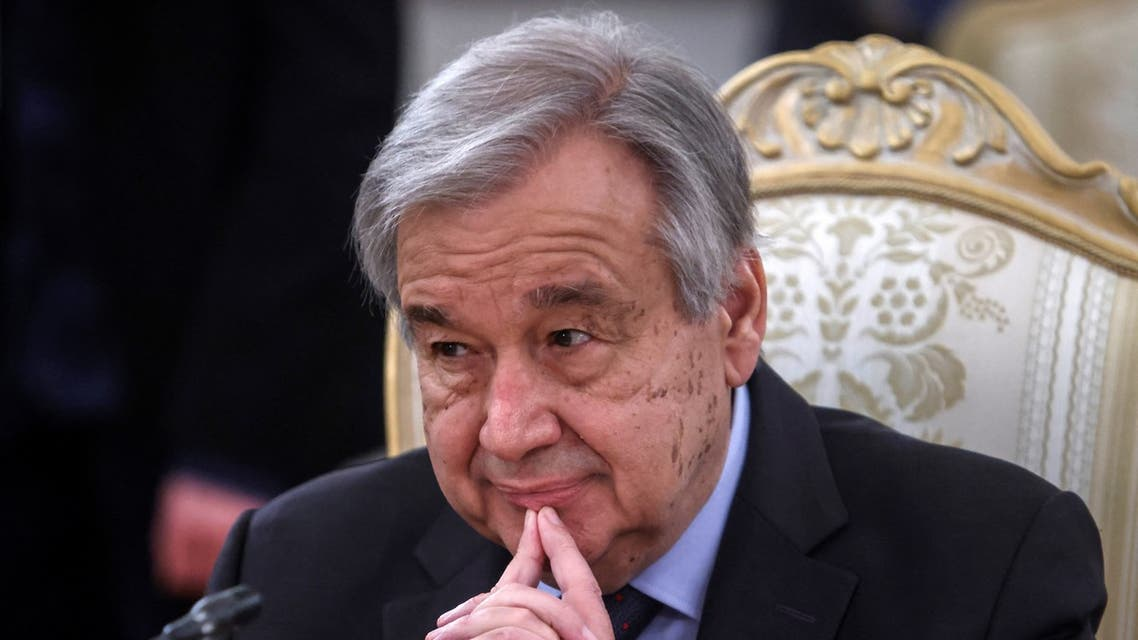 United Nations Secretary-General Antonio Guterres attends a meeting with Russian Foreign Minister in Moscow on May 12, 2021.