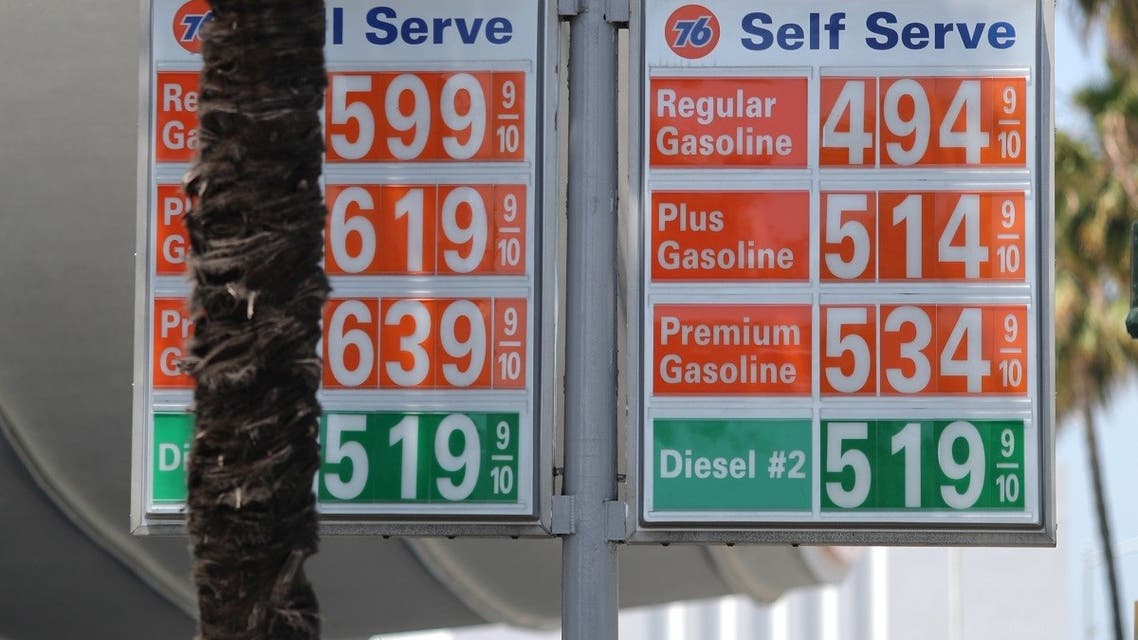 Gas prices are seen after US consumer prices surged in April, with a measure of underlying inflation blowing past the Federal Reserve's 2 percent target, in Beverly Hills, June 2, 2021. (Reuters)