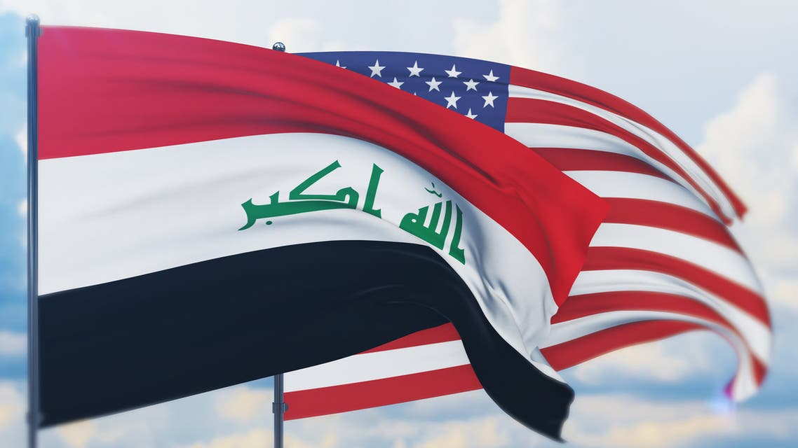 Waving American flag and flag of Iraq. Closeup view, 3D illustration. stock photo