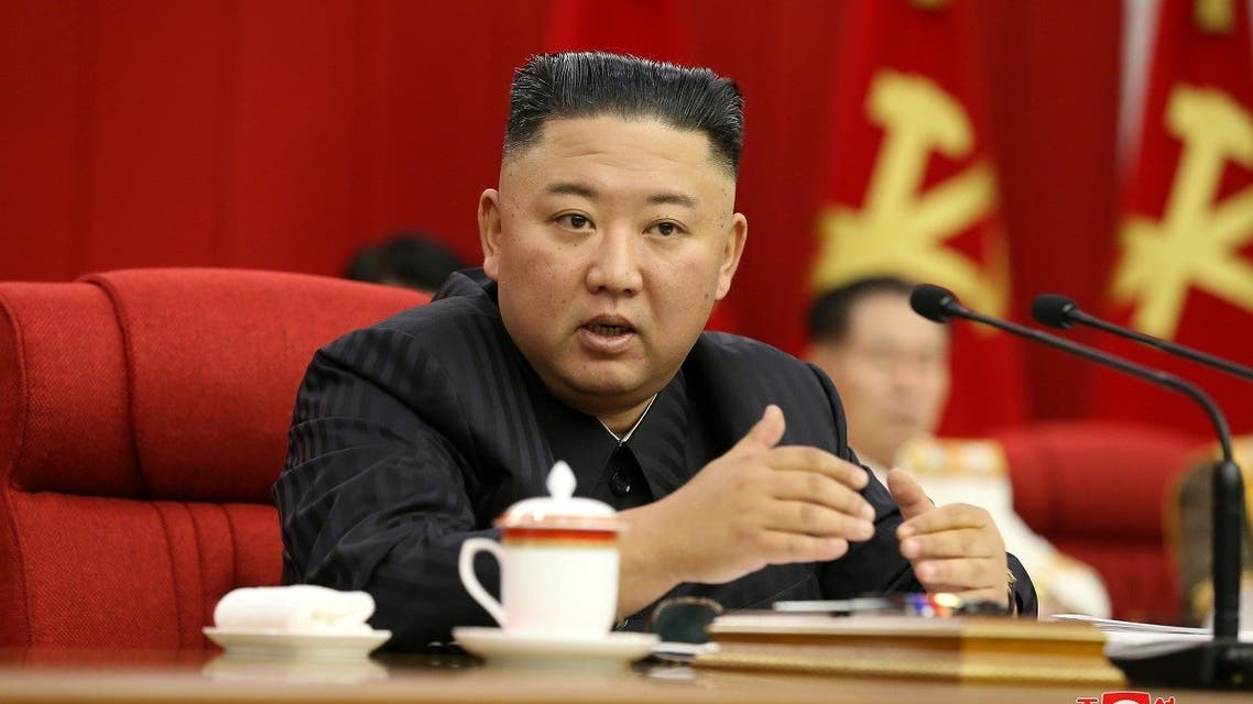 North Korean leader Kim Jong Un speaks during the third-day sitting of the 3rd Plenary Meeting of 8th Central Committee of the Workers' Party of Korea in Pyongyang, North Korea in this image released June 17, 2021 by the country's Korean Central News Agency. (Reuters)