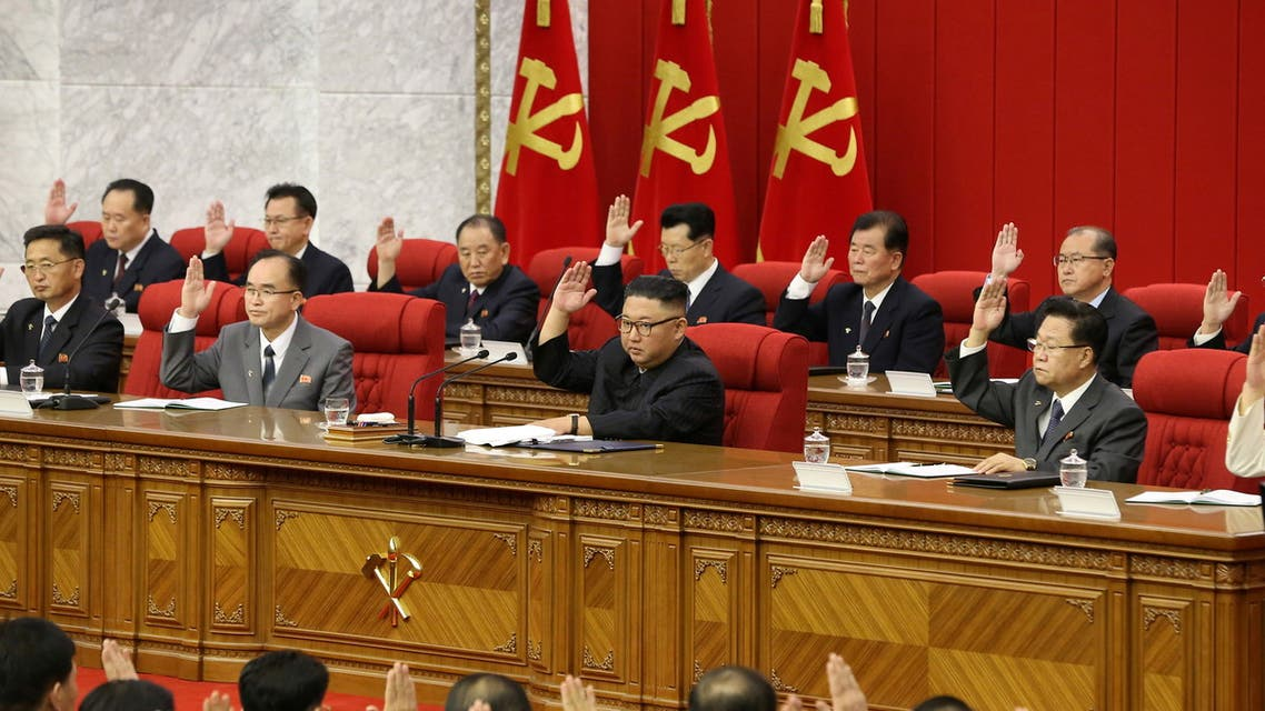 North Korean leader Kim Jong Un speaks during the fourth-day sitting of the 3rd Plenary Meeting of 8th Central Committee of the Workers' Party of Korea in Pyongyang, North Korea in this image released June 18, 2021 by the country's Korean Central News Agency. KCNA via REUTERS ATTENTION EDITORS - THIS IMAGE WAS PROVIDED BY A THIRD PARTY. REUTERS IS UNABLE TO INDEPENDENTLY VERIFY THIS IMAGE. NO THIRD PARTY SALES. SOUTH KOREA OUT.