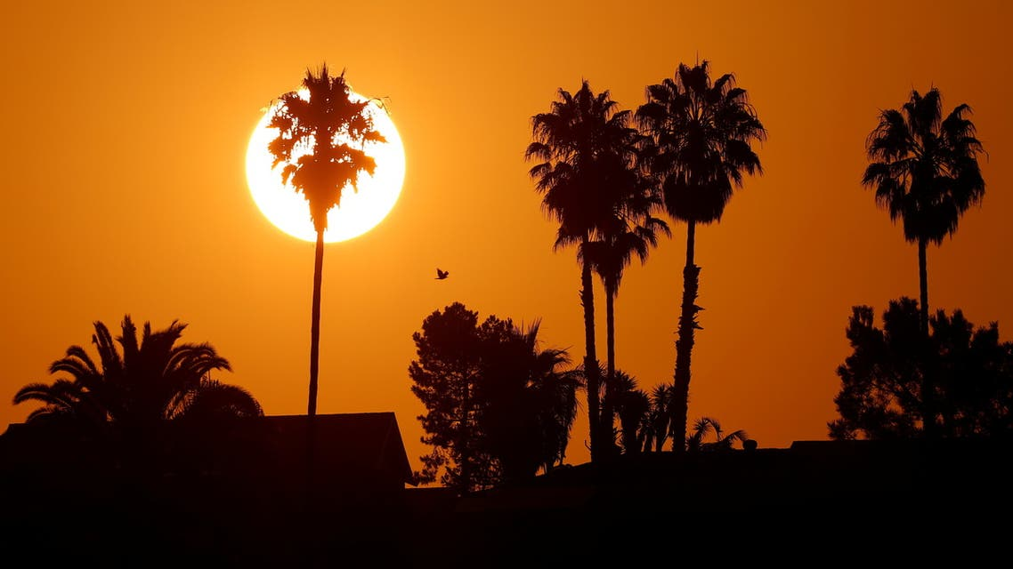 The morning sun rises over a neighborhood as a heatwave continues during the outbreak of the coronavirus disease (COVID-19) in Encinitas, California, U.S., August 19, 2020. (Reuters)