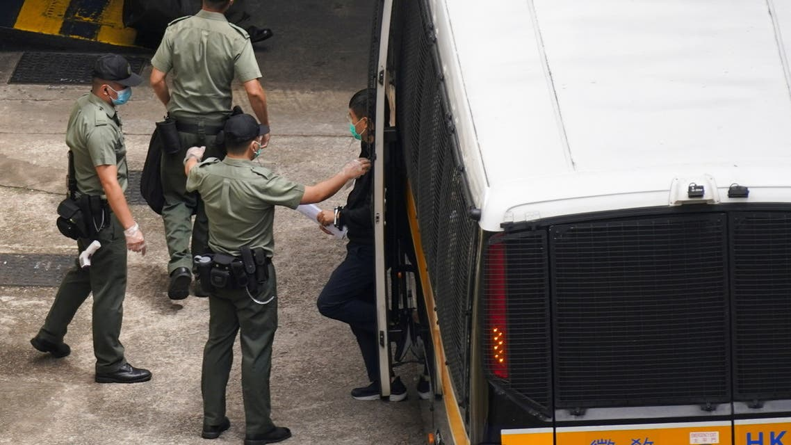 Apple Daily's editor-in-chief Ryan Law arrives at Lai Chi Kok Reception Centre by a prison van after he remained in custody over the national security law charge, in Hong Kong, China June 19, 2021. (Reuters)