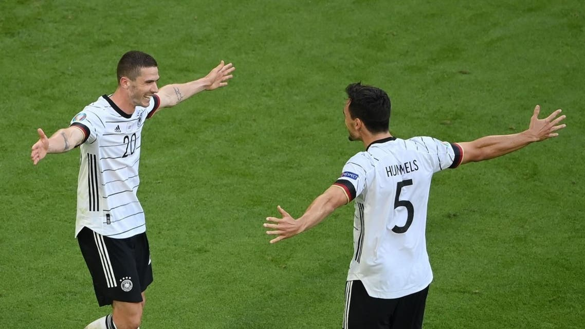 Germany's Robin Gosens celebrates scoring their fourth goal with Mats Hummels. (Reuters)