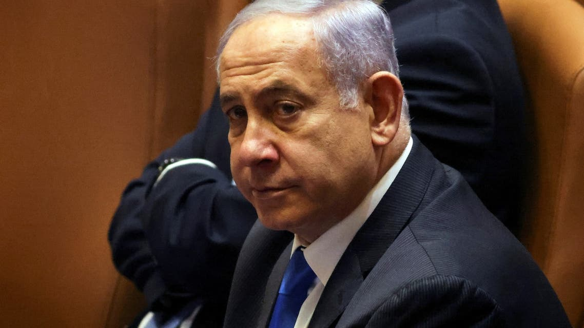 Israeli Prime Minister Benjamin Netanyahu looks on during a special session of the Knesset, Israel's parliament, whereby a confidence vote will be held to approve and swear-in a new coalition government, in Jerusalem June 13, 2021. (Reuters)