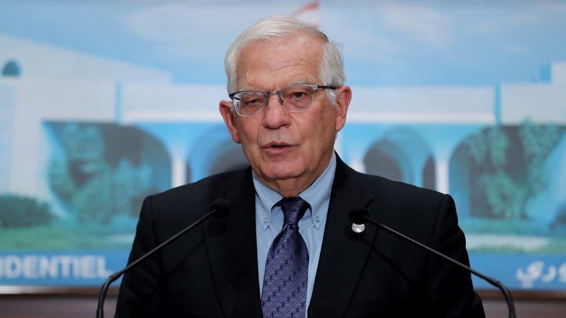 European Union foreign policy chief Josep Borrell speaks at the presidential palace in Baabda, Lebanon June 19, 2021. (Dalati Nohra/Handout via Reuters)