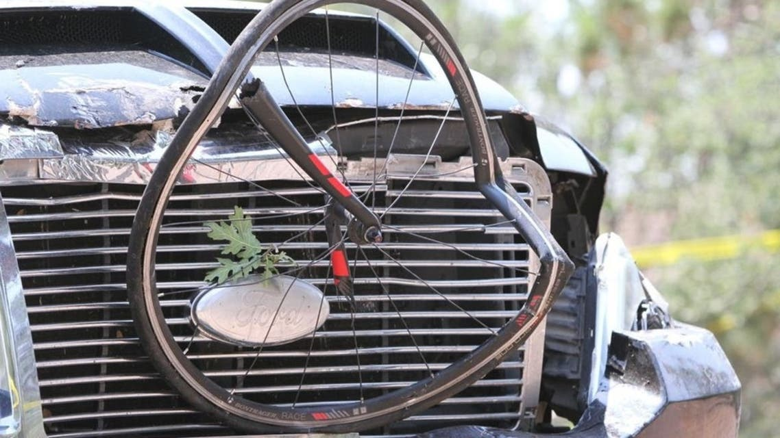 A driver in a pickup truck plowed into bicyclists during a community road race in the US state of Arizona. (Twitter)