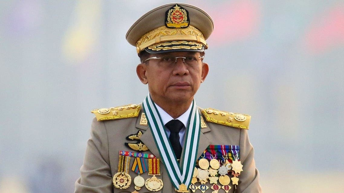 Myanmar's junta chief Senior General Min Aung Hlaing, who ousted the elected government in a coup on February 1, presides an army parade on Armed Forces Day in Naypyitaw, Myanmar, March 27, 2021. (Reuters/Stringer)