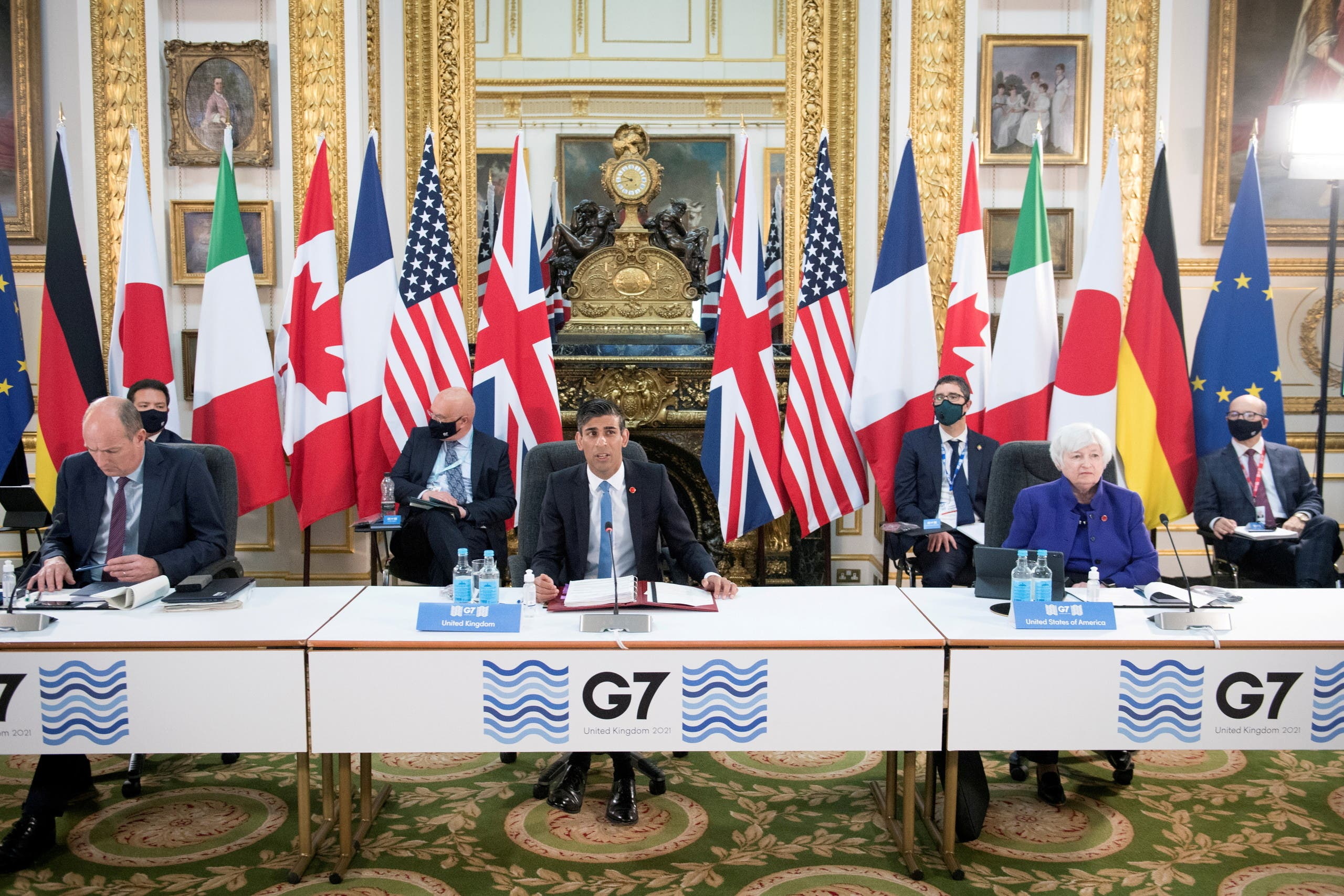 Britain's Chancellor of the Exchequer Rishi Sunak speaks at a meeting of finance ministers from across the G7 nations ahead of the G7 leaders' summit, at Lancaster House in London, Britain June 4, 2021. (File photo: Reuters)