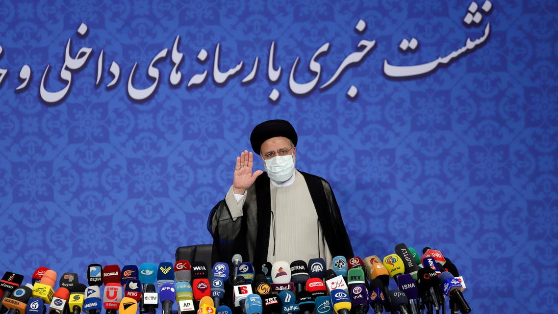 Iran's President-elect Ebrahim Raisi gestures at a news conference in Tehran, Iran June 21, 2021. (Reuters)
