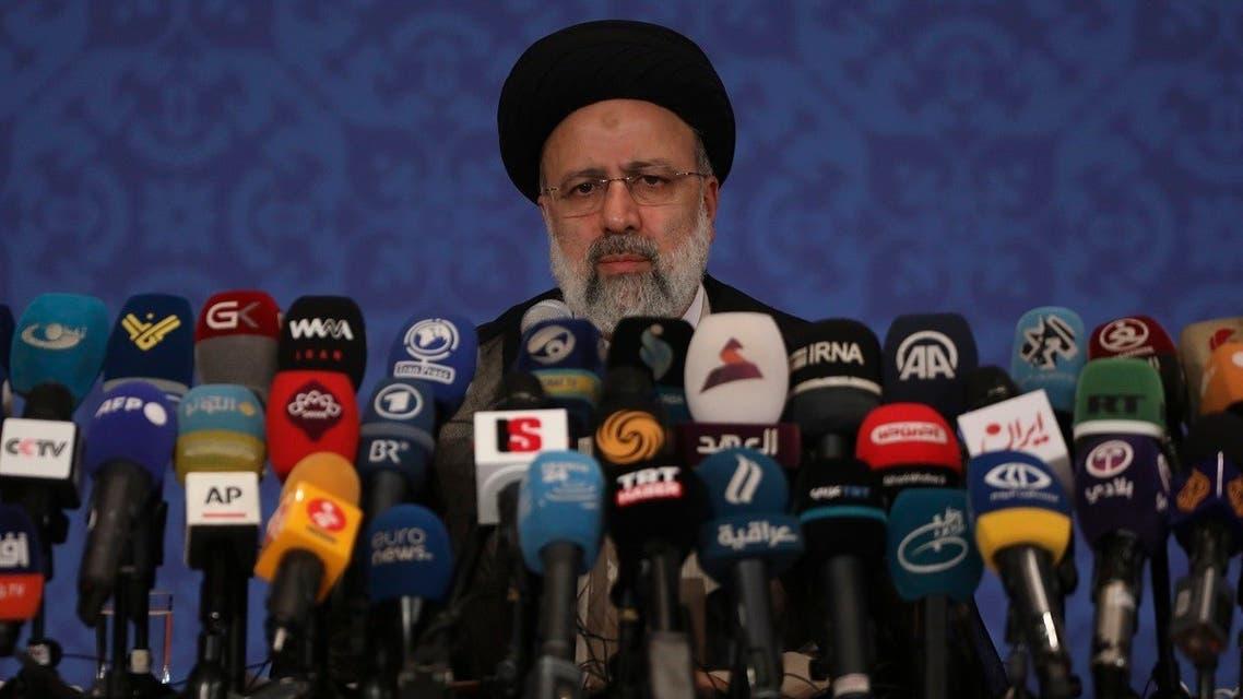 Iran's new President-elect Ebrahim Raisi speaks during a press conference in Tehran, Iran, Monday, June 21, 2021. (AP/Vahid Salemi)