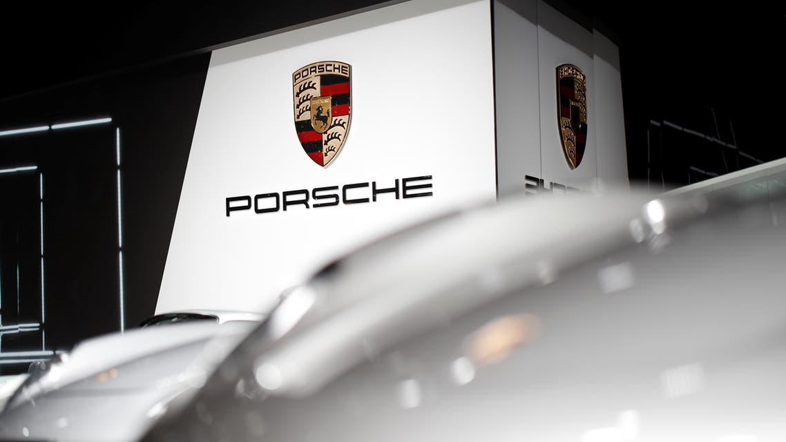 The Porsche logo is seen on the second press day of the Paris auto show, in Paris, France, October 3, 2018. (Reuters)