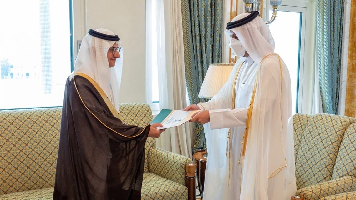 Qatar's Minister of Foreign Affairs receives the credentials of Saudi Arabia's Ambassador to Doha Prince Mansour bin Khalid bin Farhan Al Saud. (Twitter)
