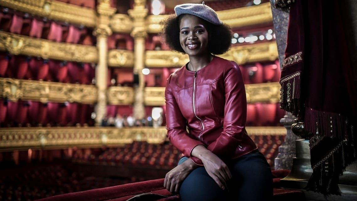 This file photo taken on September 10, 2019 shows South African soprano Pretty Yende posing during a photo session at the Garnier Opera House in Paris. (Stephane De Sakutin/AFP)