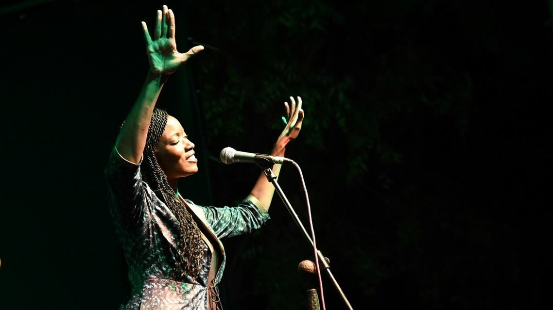 Singer Awa Ly performs on stage at the Saint Louis Jazz Festival in Saint Louis, Senegal, on June 18, 2021. (Reuters)
