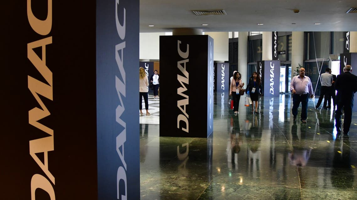 A picture taken on September 11, 2017 shows a DAMAC logo on display during the Cityscape Global, Dubai's premier property show, in Dubai. (AFP)