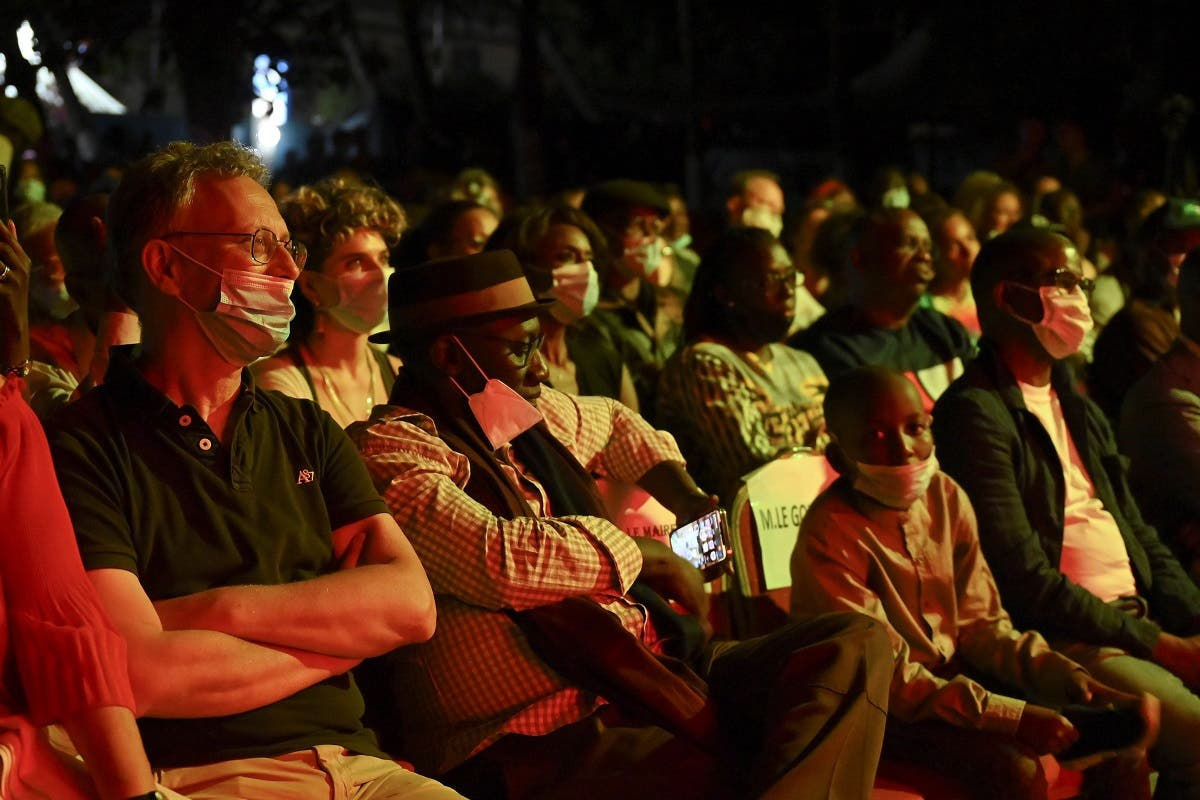 Audience members watch a performance by singer Awa Ly at the Saint Louis Jazz Festival in Saint Louis, Senegal, on June 18, 2021. (Reuters)