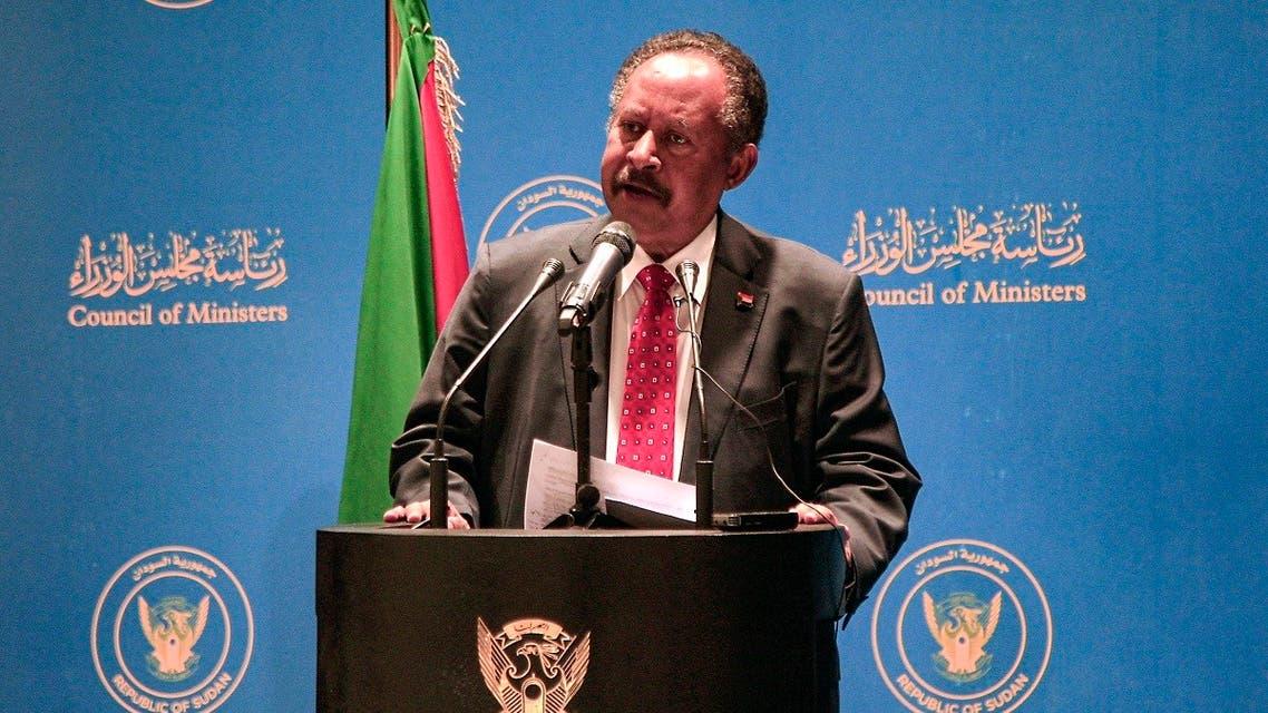 Sudan's Prime Minister Abdalla Hamdok gives an address in the capital Khartoum on June 22, 2021. (Ebrahim Hamid/AFP)