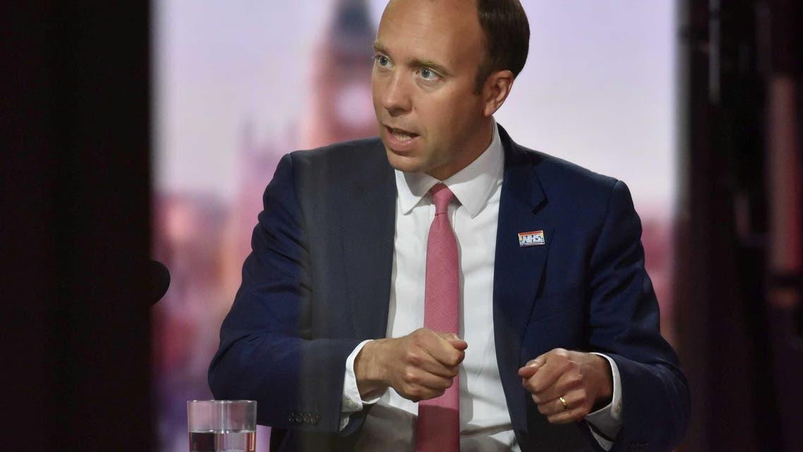 Britain's Health Secretary Matt Hancock appears on BBC TV's The Andrew Marr Show in London, Britain June 6, 2021. (BBC/Handout via Reuters)