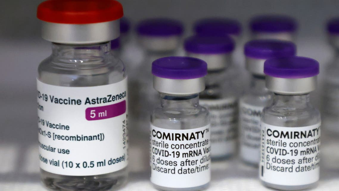 Vials of the AstraZeneca and Pfizer-BioNTech Comirnaty coronavirus disease (COVID-19) vaccines are pictured in a General practitioners practice in Berlin, Germany, April 10, 2021. (Reuters)