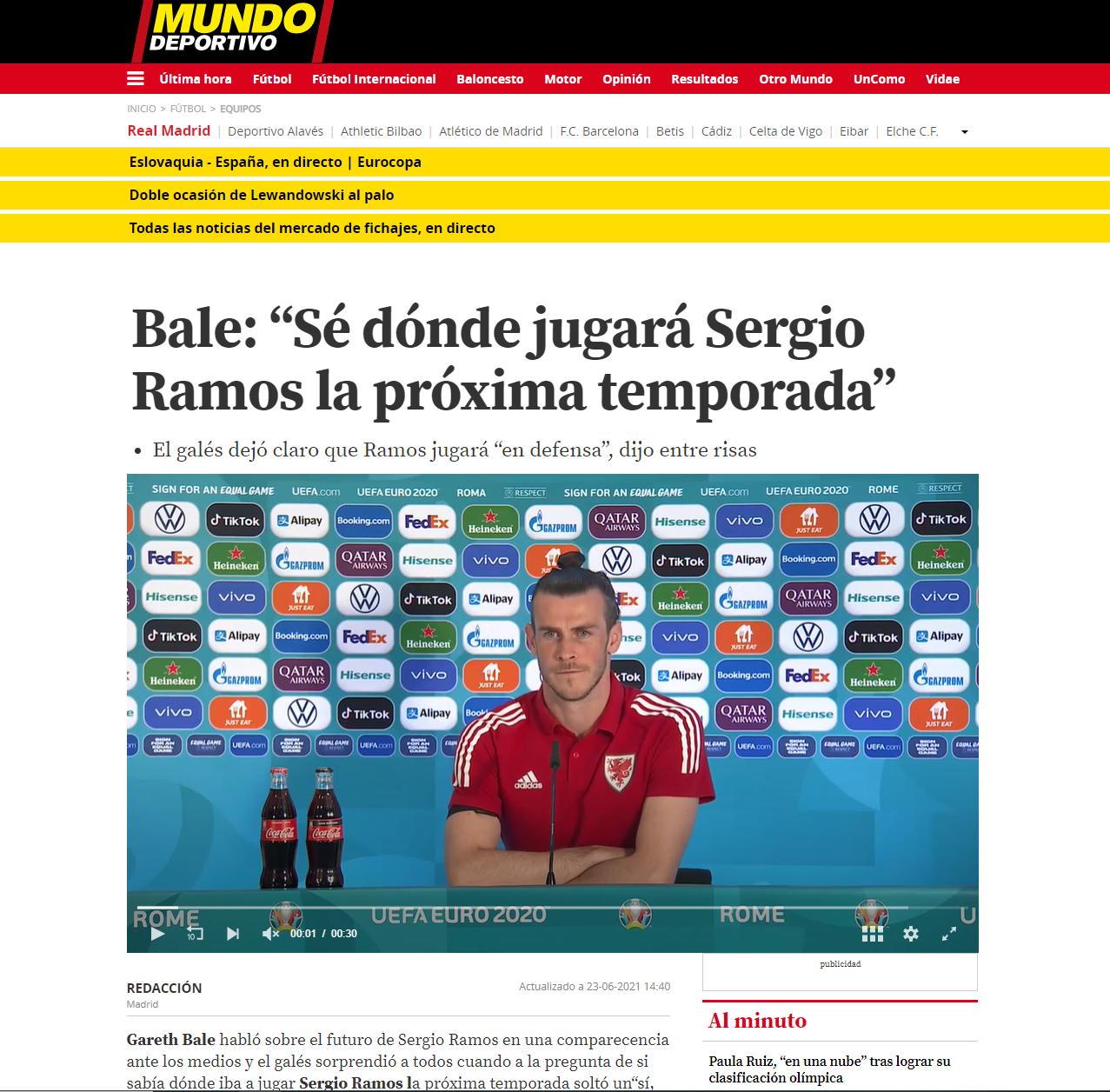 """الخبر في """"موندو ديبورتيفو"""" الإسبانية"""