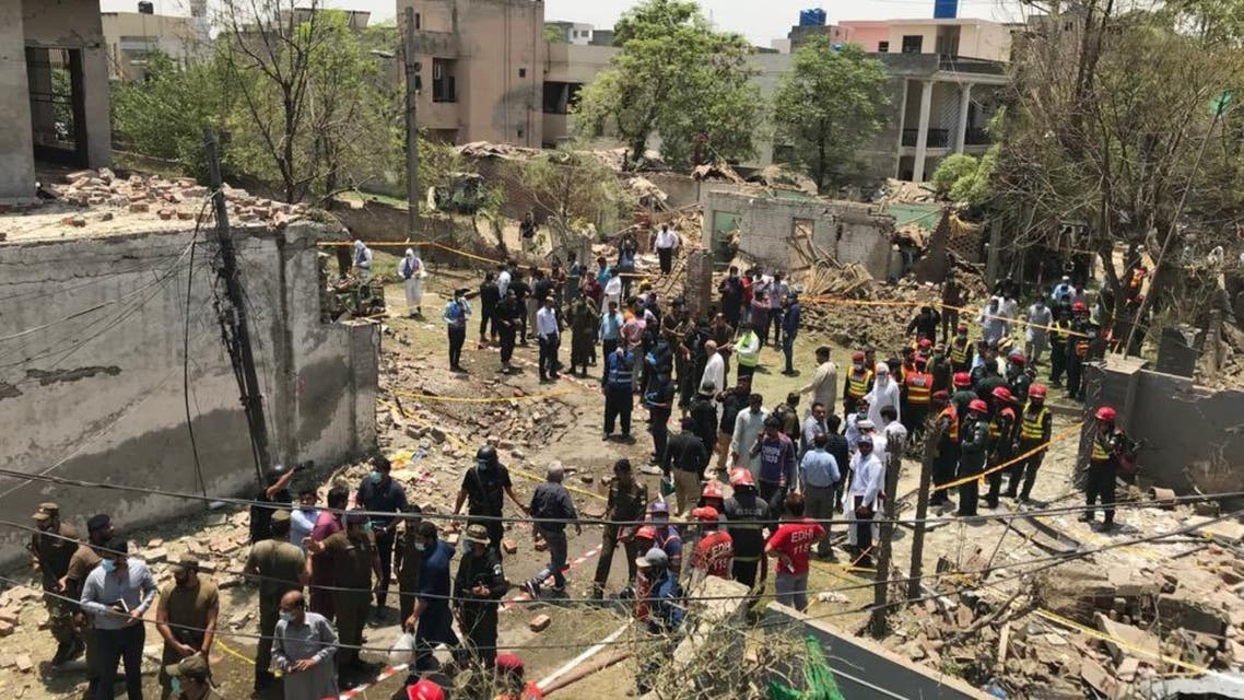 Site after an explosion outside of Johar Town in Lahore, Pakistan on June 23, 2021. (Twitter)