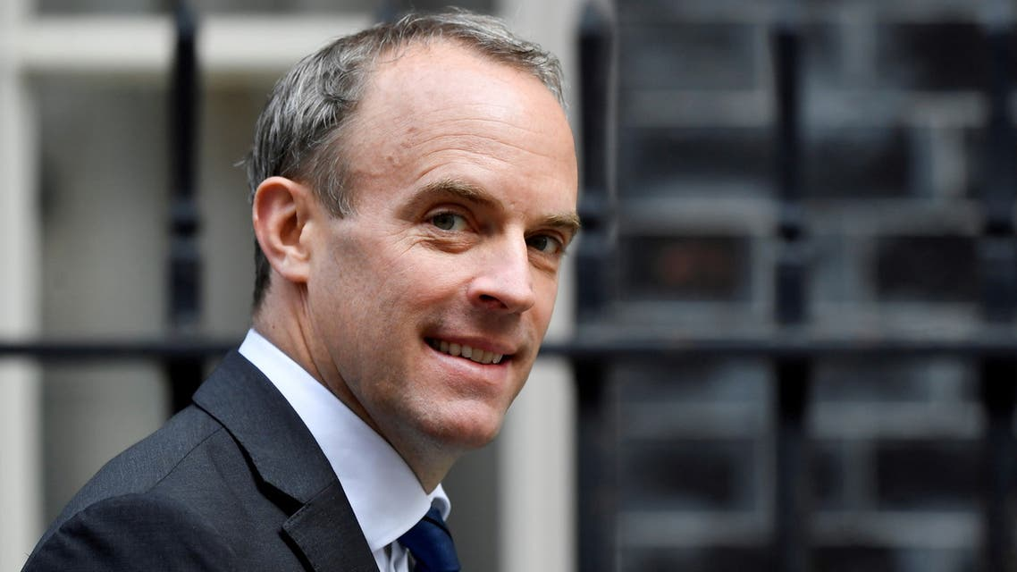 Britain's Foreign Affairs Secretary Dominic Raab walks outside Downing Street in London, Britain, September 22, 2020. (File Photo: Reuters)