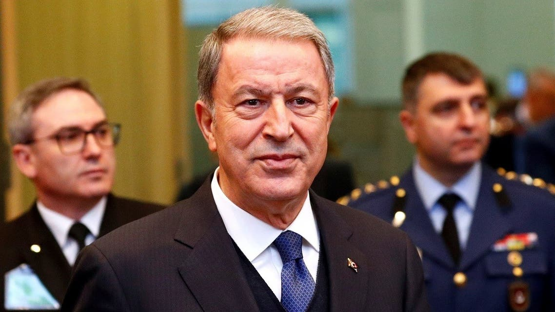 Turkey's Defence Minister Hulusi Akar attends a NATO defence ministers meeting at the Alliance headquarters in Brussels, Belgium February 12, 2020. (Reuters/Francois Lenoir)