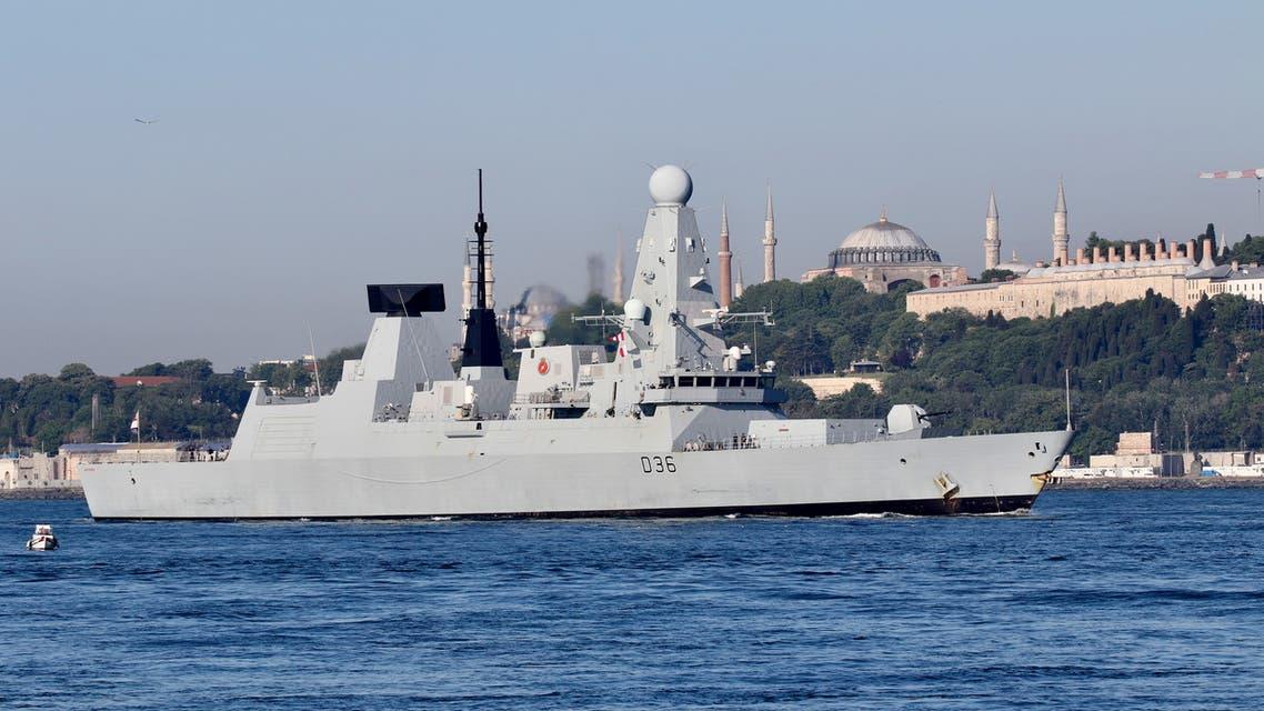 British Royal Navy's Type 45 destroyer HMS Defender arrives for a port visit in Istanbul, Turkey June 9, 2021. (Reuters)