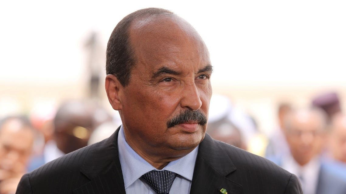 Mauritania's President Mohamed Ould Abdel Aziz waits for the arrival of the French President at Nouakchott airport, Mauritania, July 2, 2018.  (AFP)