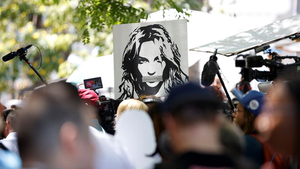 People protest in support of pop star Britney Spears on the day of a conservatorship case hearing at Stanley Mosk Courthouse in Los Angeles, California, US June 23, 2021. (Reuters)