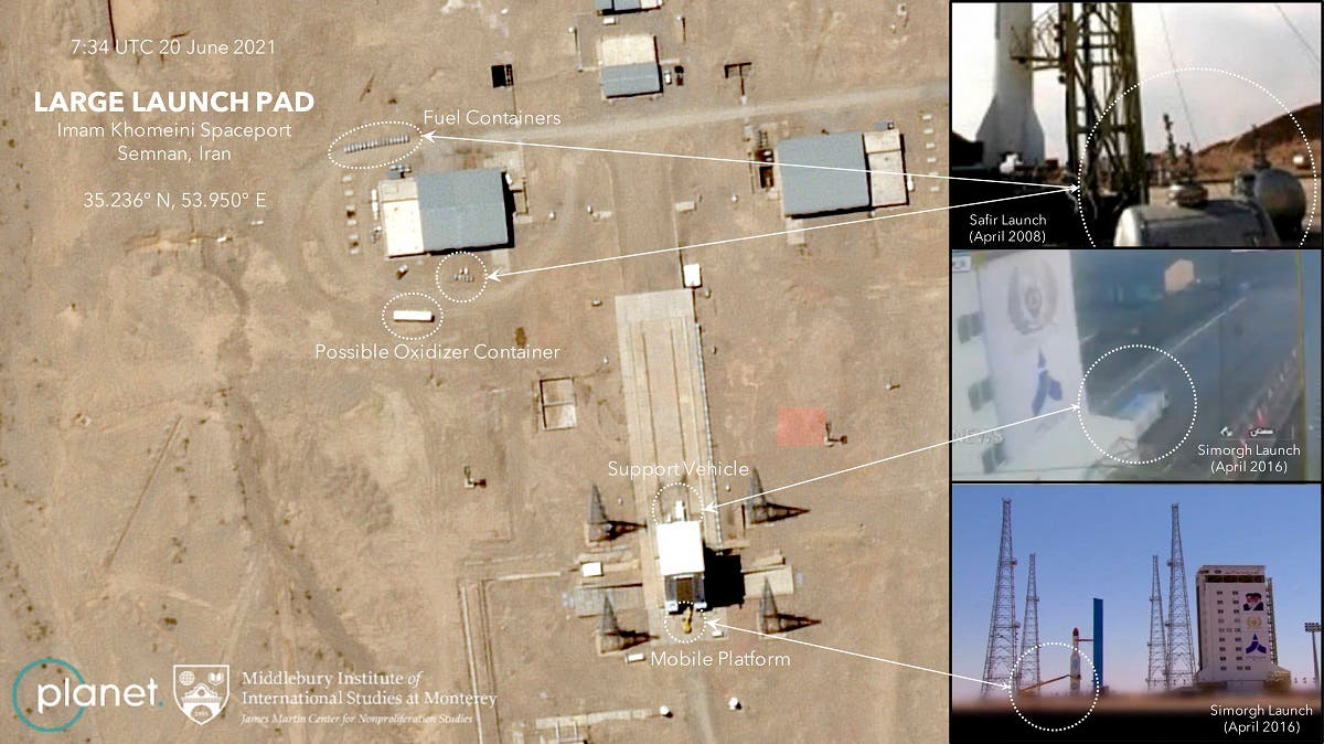 This handout satellite image obtained on June 23, 2021 courtesy of Planet Labs Inc. and Middlebury Institute of International Studies at Monterey (MIIS), shows on June 19 and 20, 2021 images at Imam Khomeini Spaceport, that Iran was again making preparations for a launch of the Simorgh, according to experts at the Middlebury Institute of International Affairs at Monterey. (AFP)