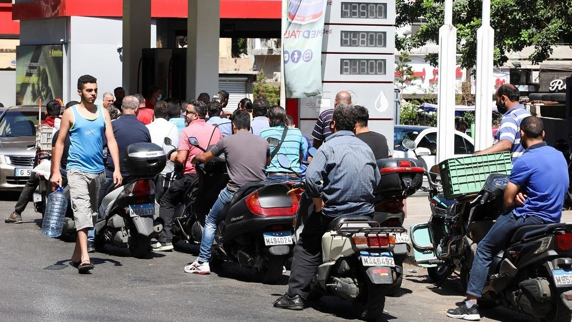 Motorbike riders wait to get fuel at a gas station in Beirut, Lebanon June 17, 2021. (Reuters/Mohamed Azakir)