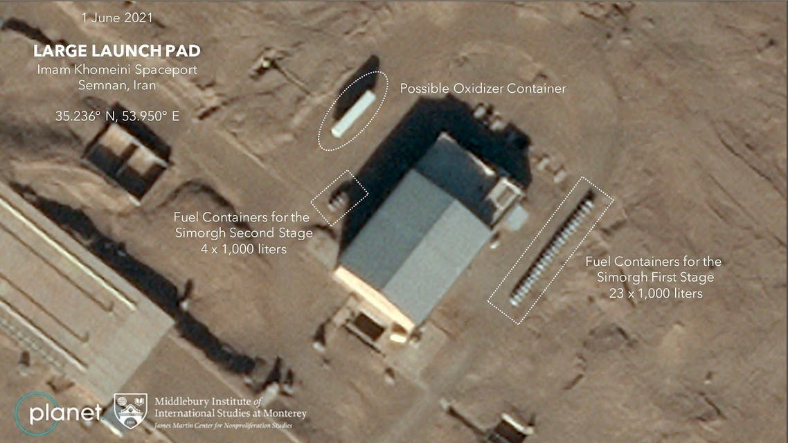 This handout satellite image obtained on June 23, 2021 courtesy of Planet Labs Inc. and Middlebury Institute of International Studies at Monterey (MIIS), shows on June 19 and 20, 2021 an image of a fuel container, at the launch pad at Imam Khomeini Spaceport, that Iran was again making preparations for a launch of the Simorgh, according to experts at the Middlebury Institute of International Affairs at Monterey. (AFP)