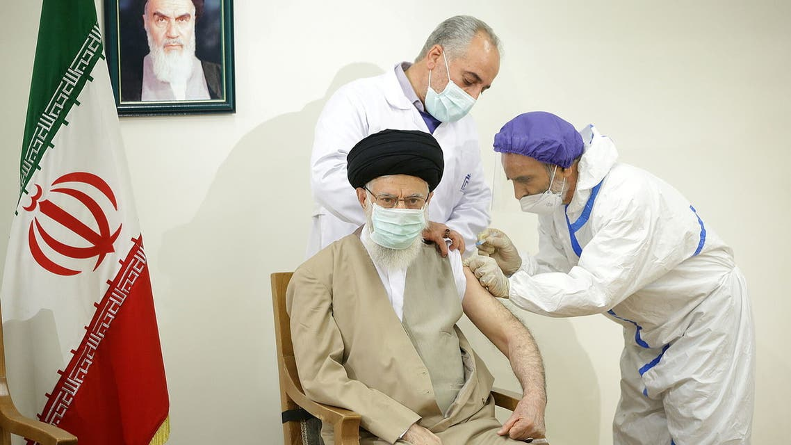 Iran's Supreme Leader Ali Khamenei receives his first dose of the COVIran Barakat vaccine, developed by a state-affiliated conglomerate, in Tehran, Iran June 25, 2021. (Reuters)