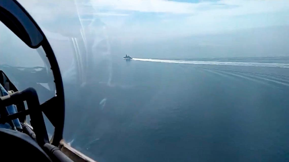 In this grab taken from a video released by the Russian Defense Ministry Press Service on Wednesday, June 23, 2021, a view of the British destroyer HMS Defender as it sails near Crimea in the Black Sea. (AP)
