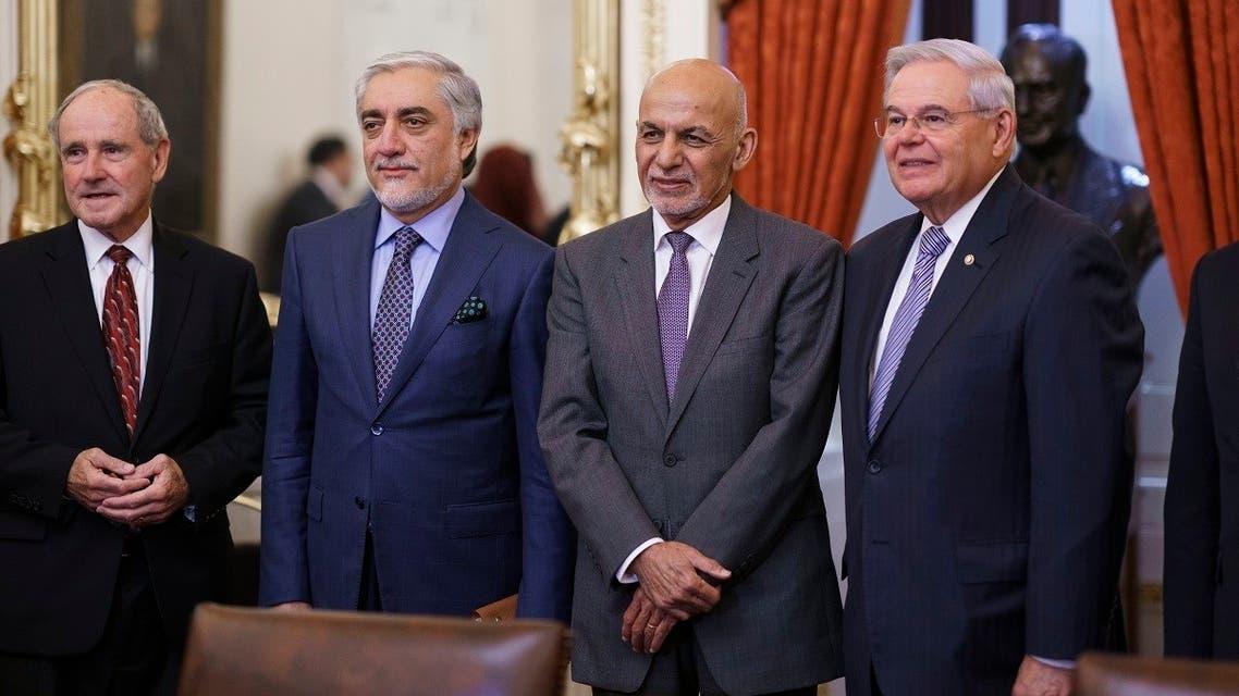 From left, Sen. Jim Risch, Abdullah Abdullah, Afghan President Ashraf Ghani, and Sen. Bob Menendez meet at the Capitol, June 23, 2021. (AP)