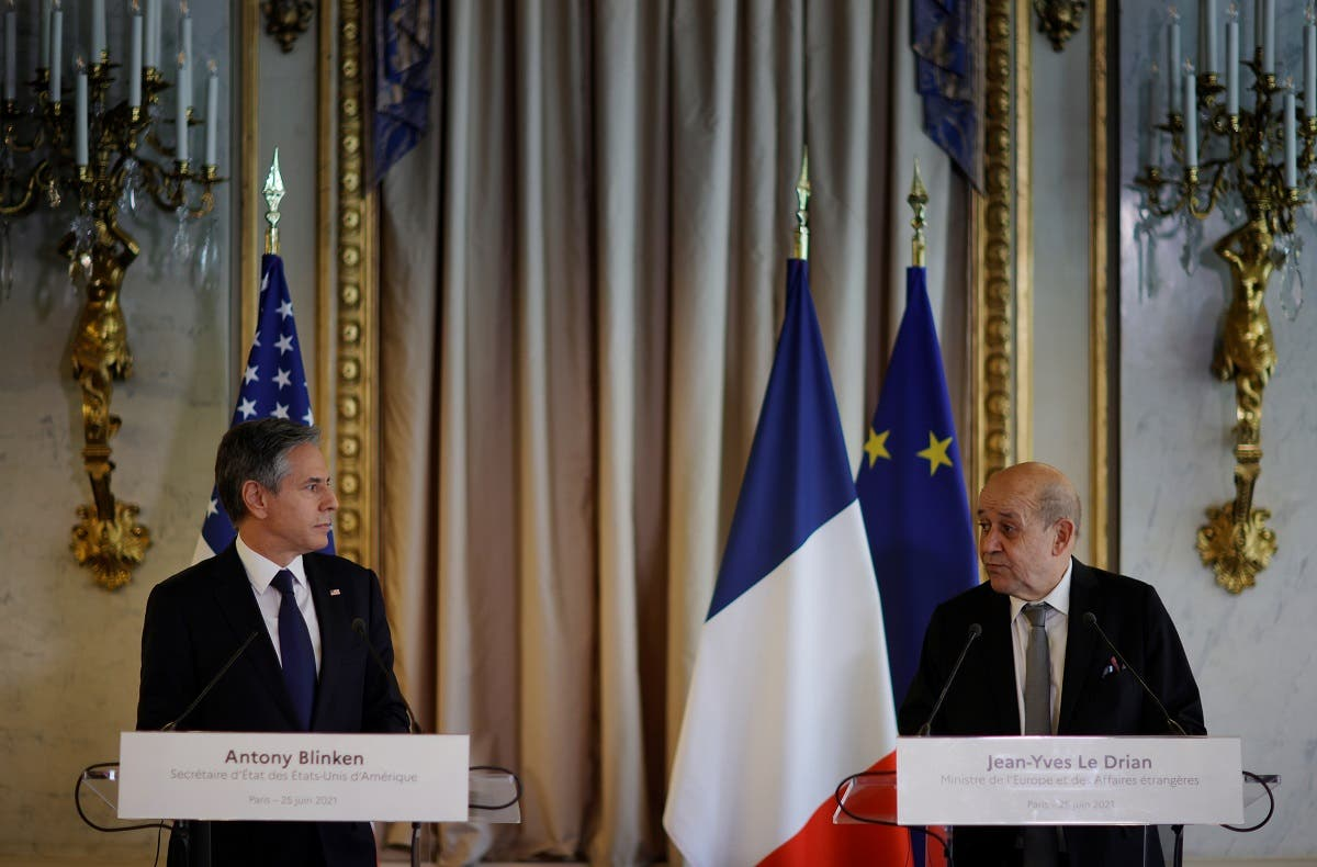 US Secretary of State Antony Blinken, meets with French Foreign Affairs Minister Jean-Yves Le Drian at the French Ministry of Foreign Affairs in Paris, France, on June 25, 2021. (Reuters)
