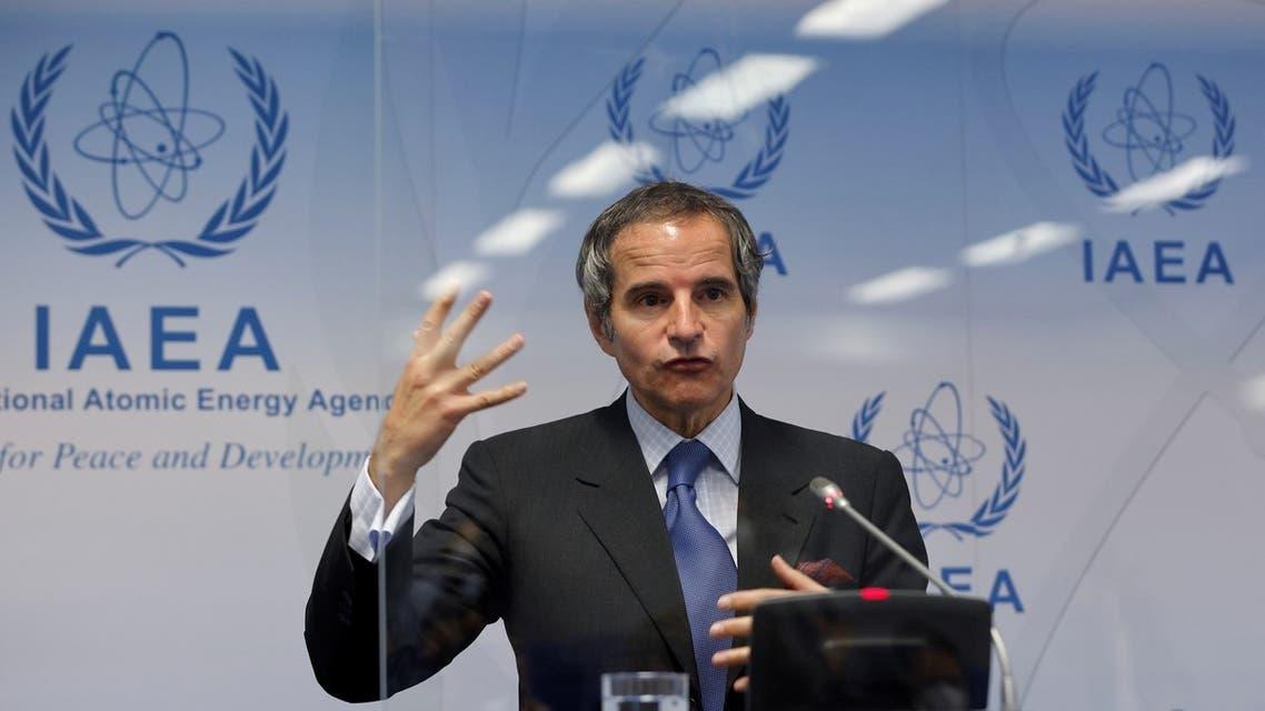 المدير العام للوكالة الدولية للطاقة الذرية رفائيل غروسي يتحدث في فيينا يوم السابع من يونيو 2021 (رويترز)